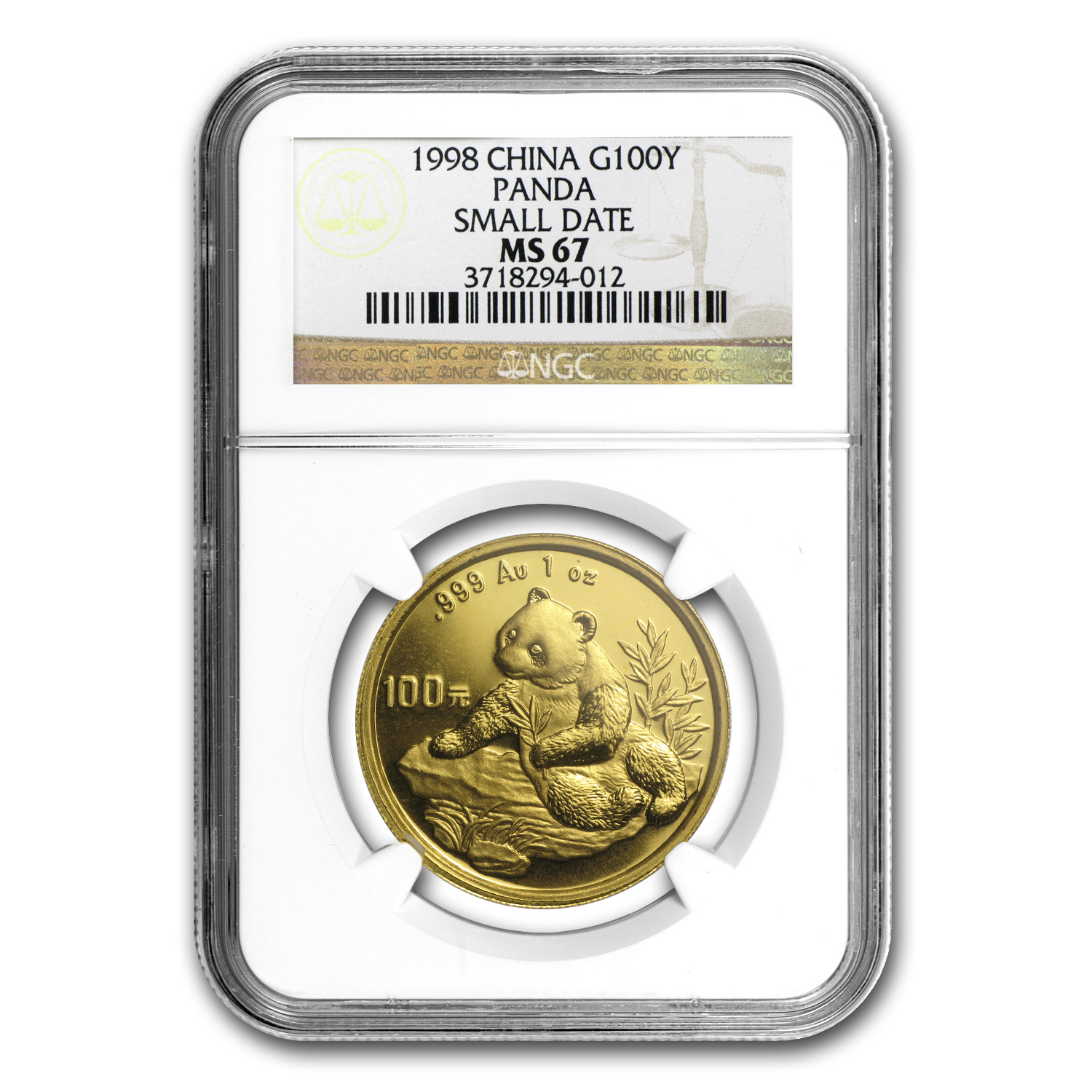 1998 China 1 oz Gold Panda Small Date MS-67 NGC
