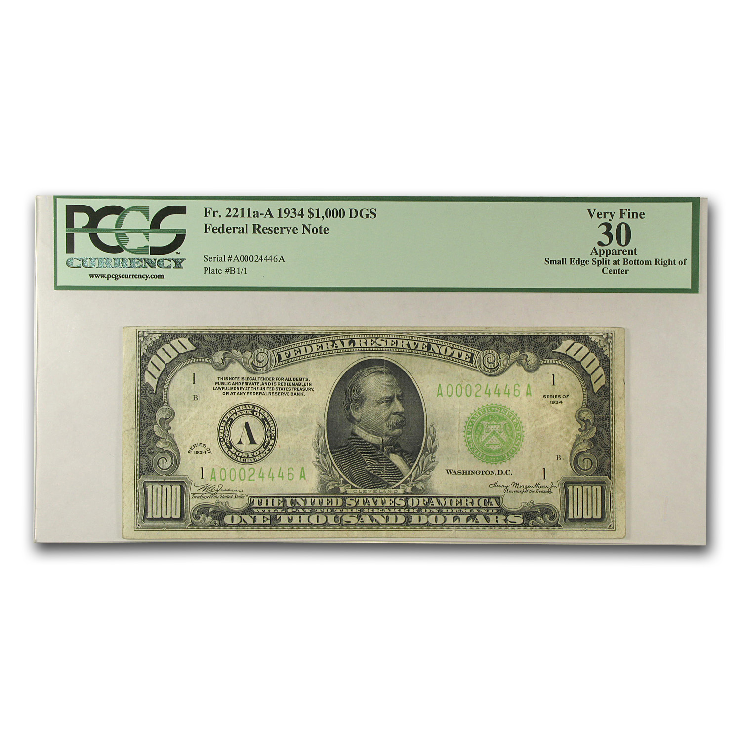 1934 (A-Boston) $1,000 FRN - PCGS (Very Fine)-30
