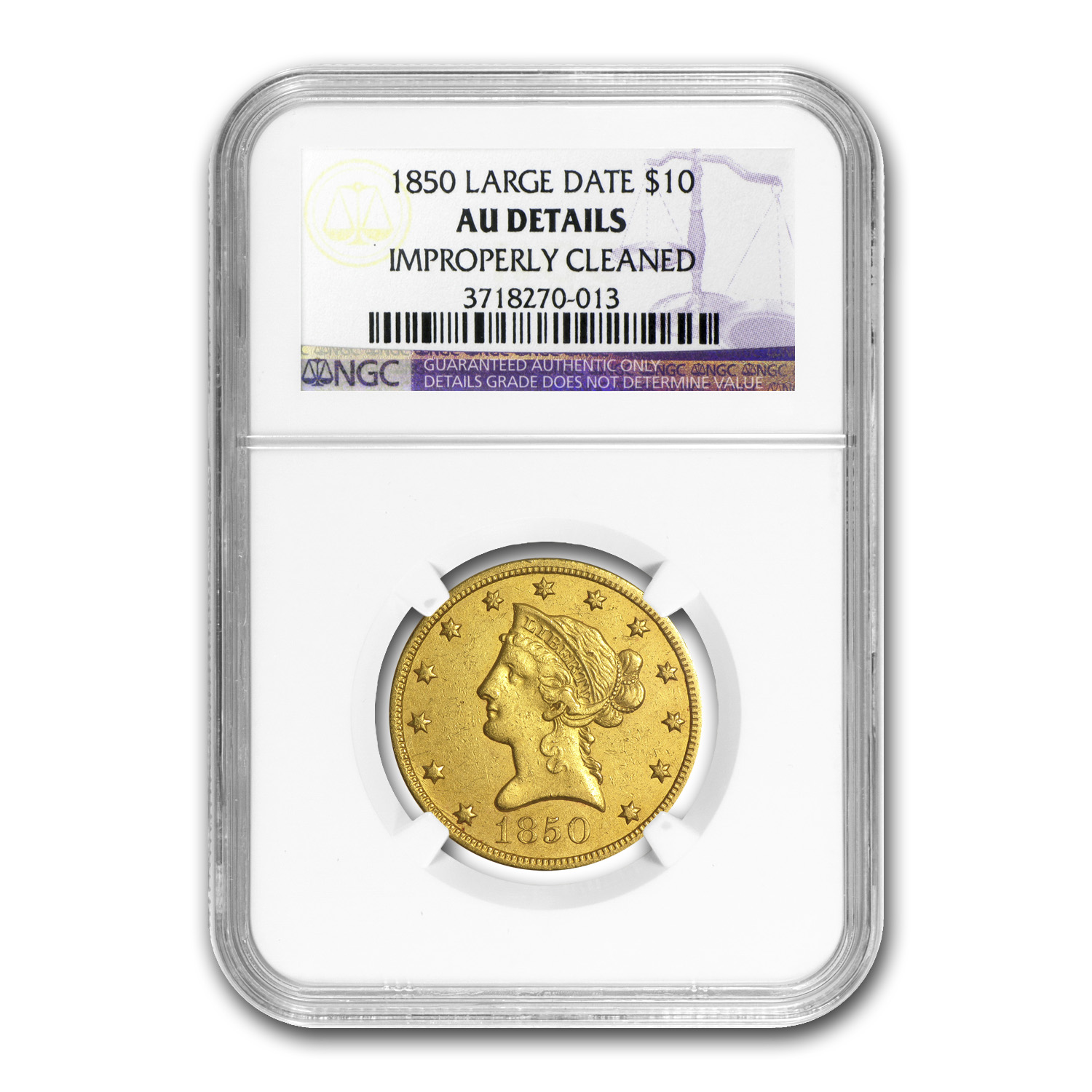 1850 $10 Liberty Gold Eagle Large Date AU Details NGC