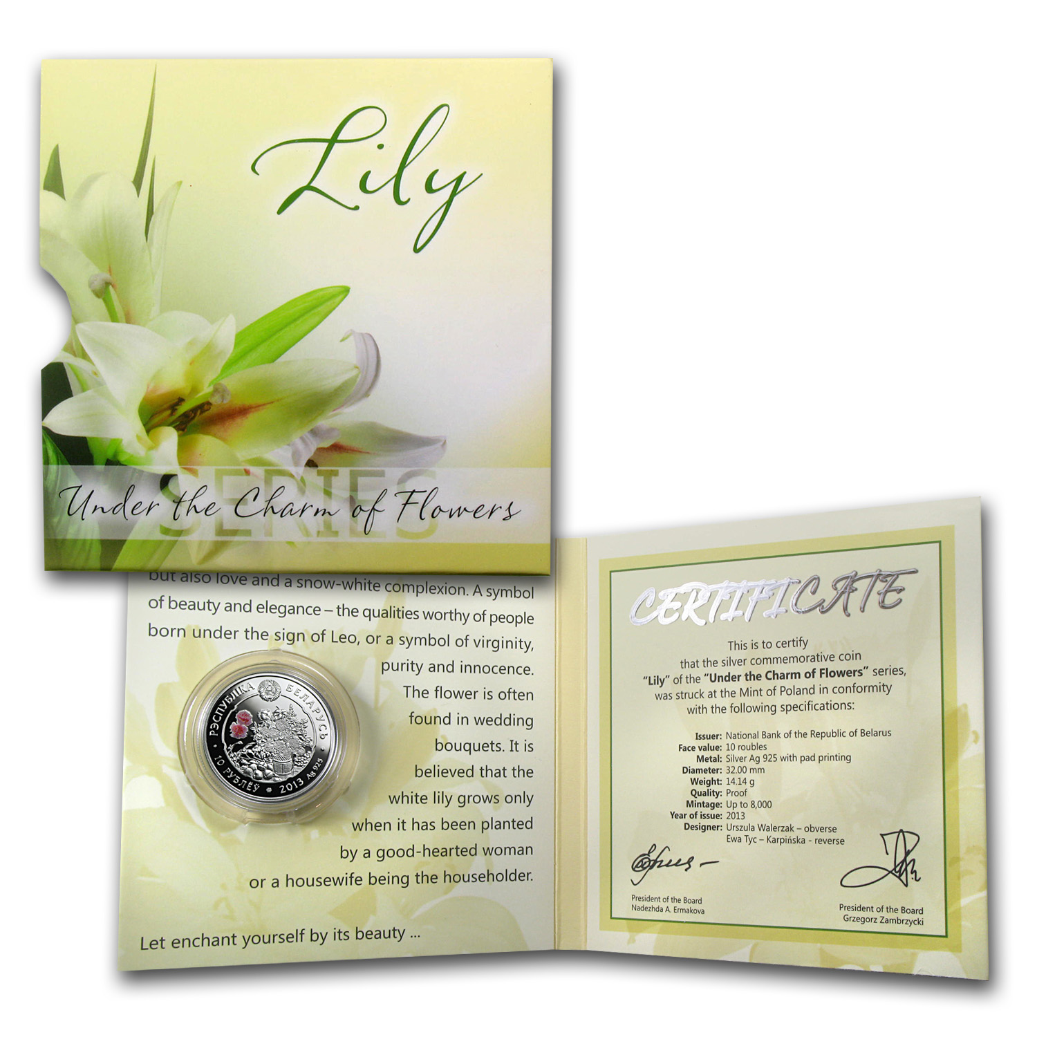 2013 Belarus Silver Proof Under the Charm of Flowers Lily