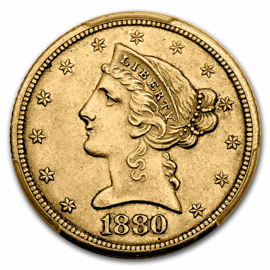 1880-CC $5 Liberty Gold Half Eagle AU-55 PCGS
