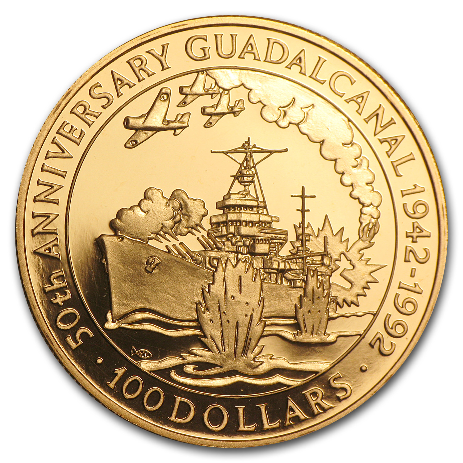 1992 Solomon Islands Proof Gold $100 Battle of Guadalcanal