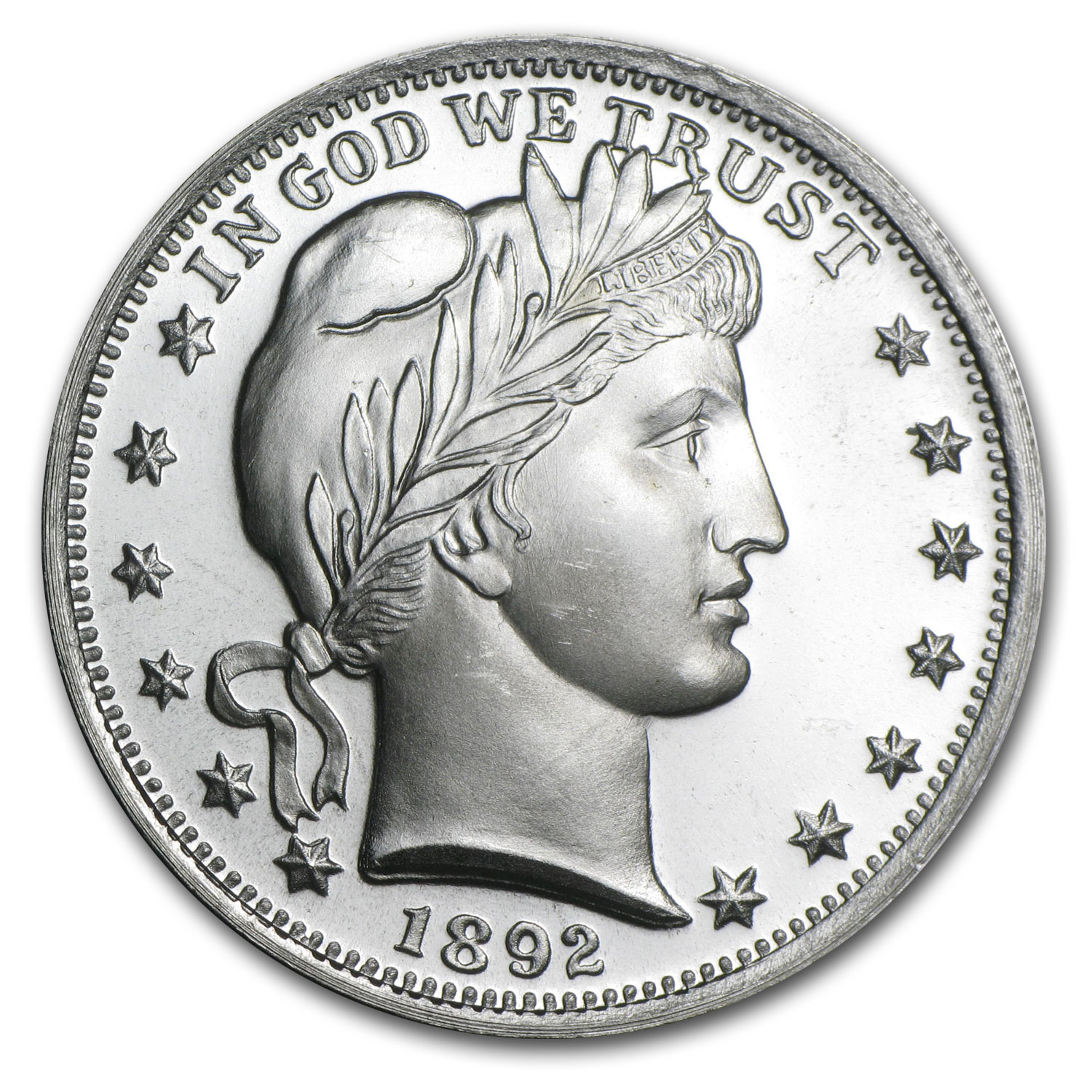 1 oz Silver Rounds - Barber Design