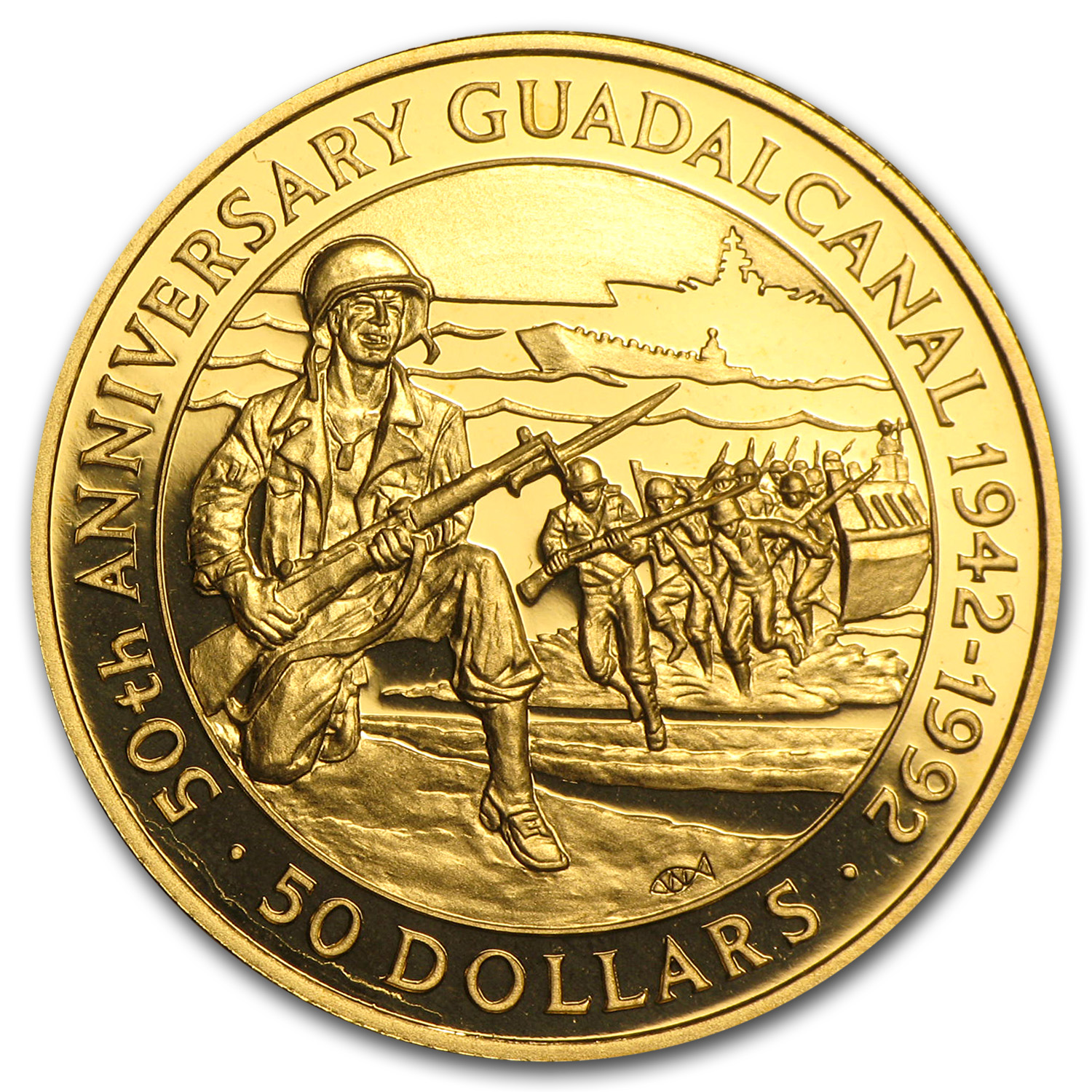 1992 Solomon Islands Proof Gold $50 Battle of Guadalcanal