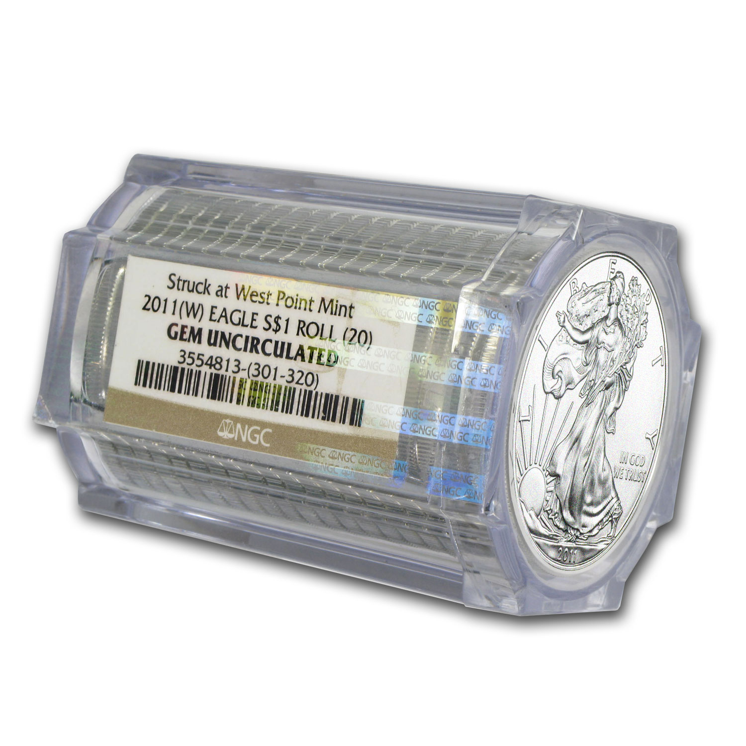 2011 (W) 20-Coin Silver American Eagle Sealed Tube NGC