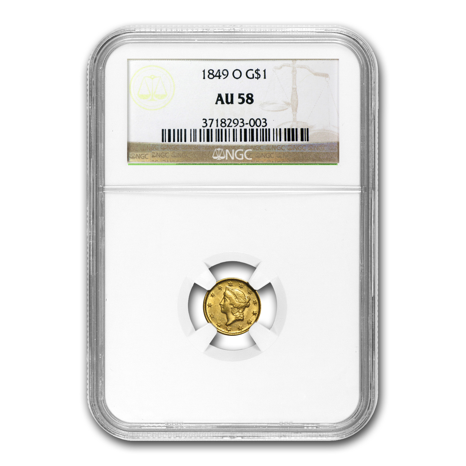 1849-O $1 Liberty Head Gold Open Wreath AU-58 NGC