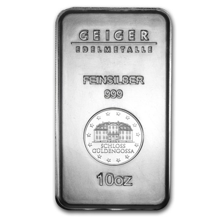 10 Oz Geiger Silver Bars For Sale Ten Ounce Silver Bar