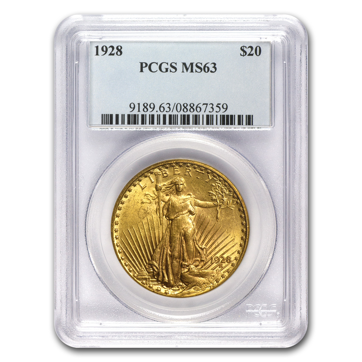 7-Coin $20 St. Gaudens Gold Double Eagle Date Set MS-63 PCGS