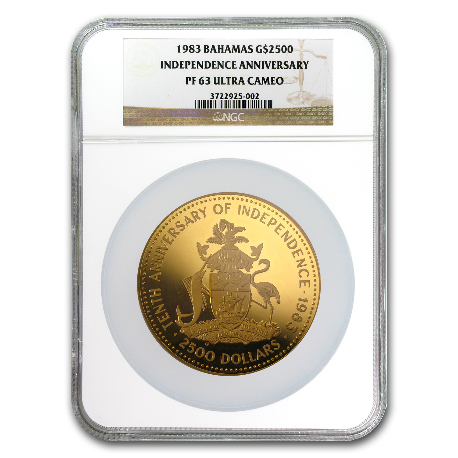 Bahamas 1983 $2500 Gold (12 oz) Independence NGC PF-63 UCAM