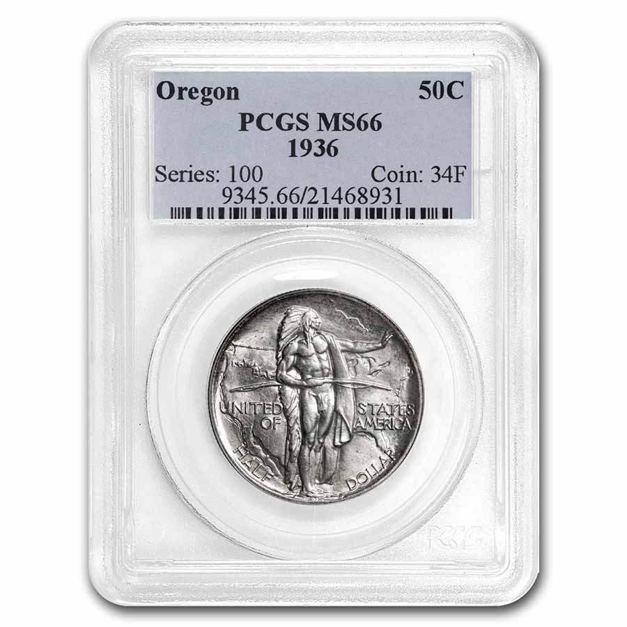 1936 Oregon Trail Commemorative Half Dollar MS-66 PCGS