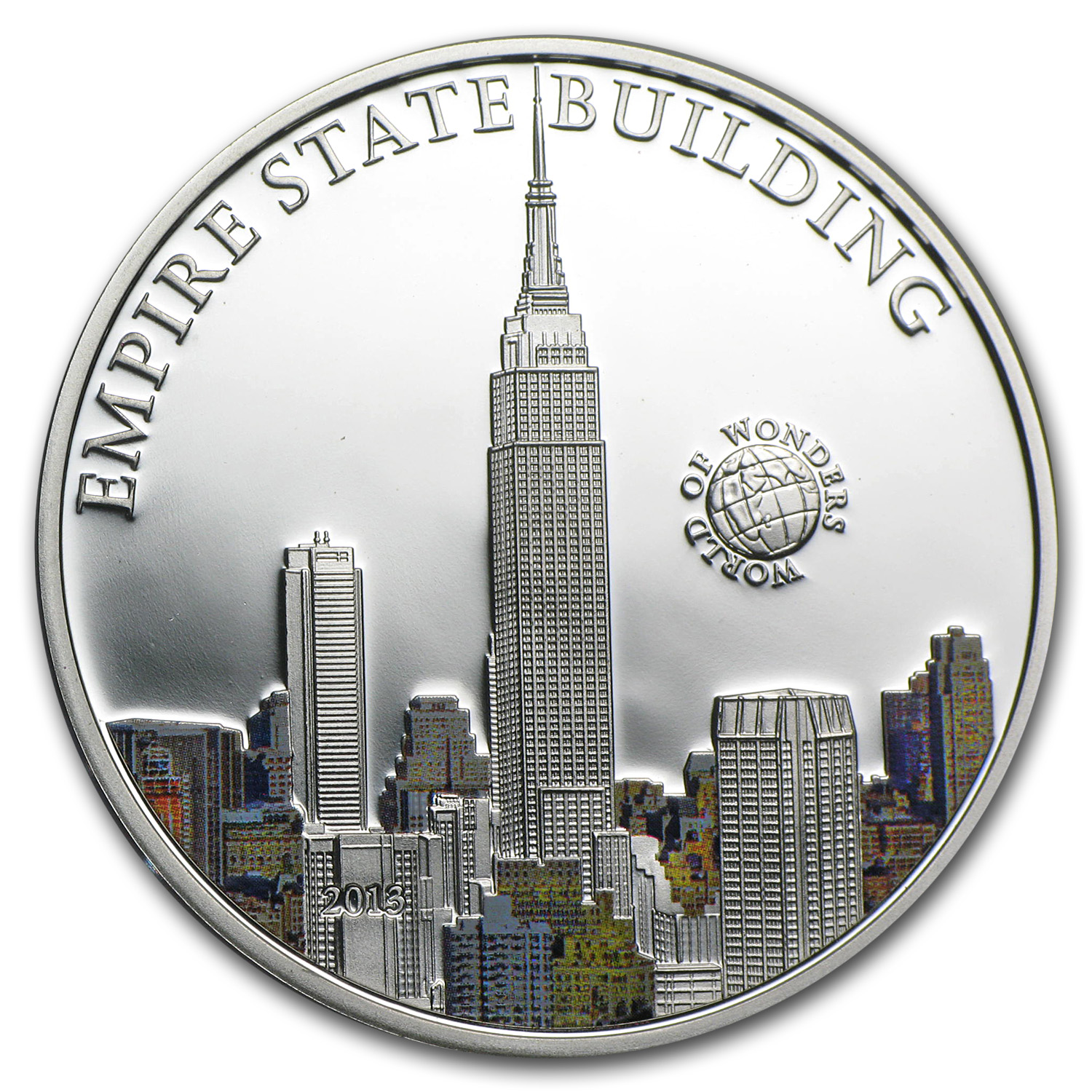 2013 Palau Proof Silver World of Wonders Empire State Building