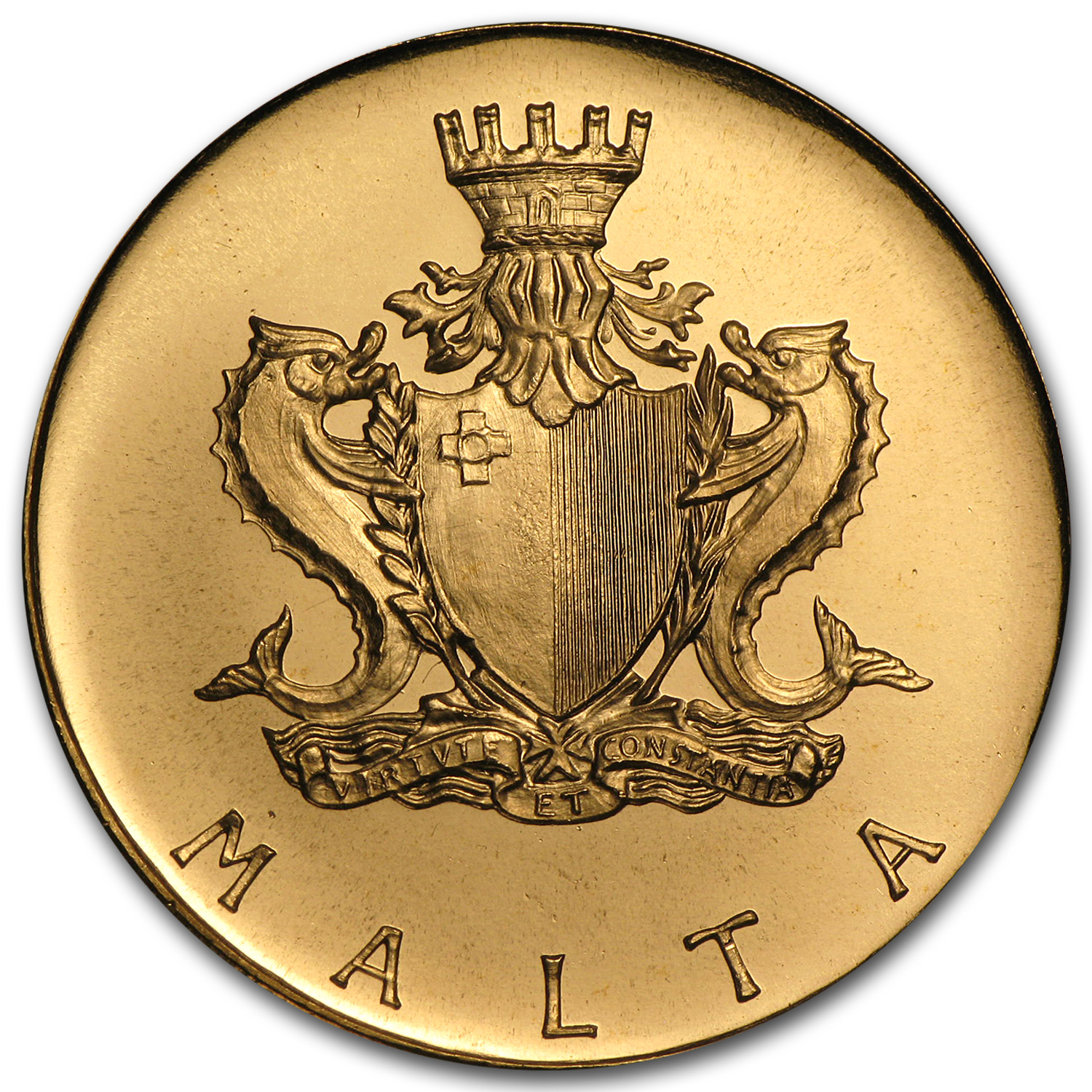 1972 Malta Gold 50 Pounds Neptune BU (AGW .8844)