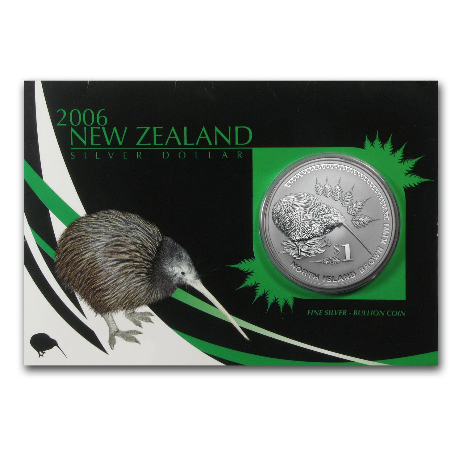 2006 1 oz Silver New Zealand $1 Kiwi Coin Display Card