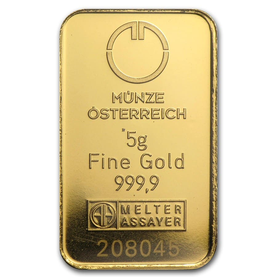 5 gram Gold Bars - Austrian Mint (KineBar Design) (In Assay)