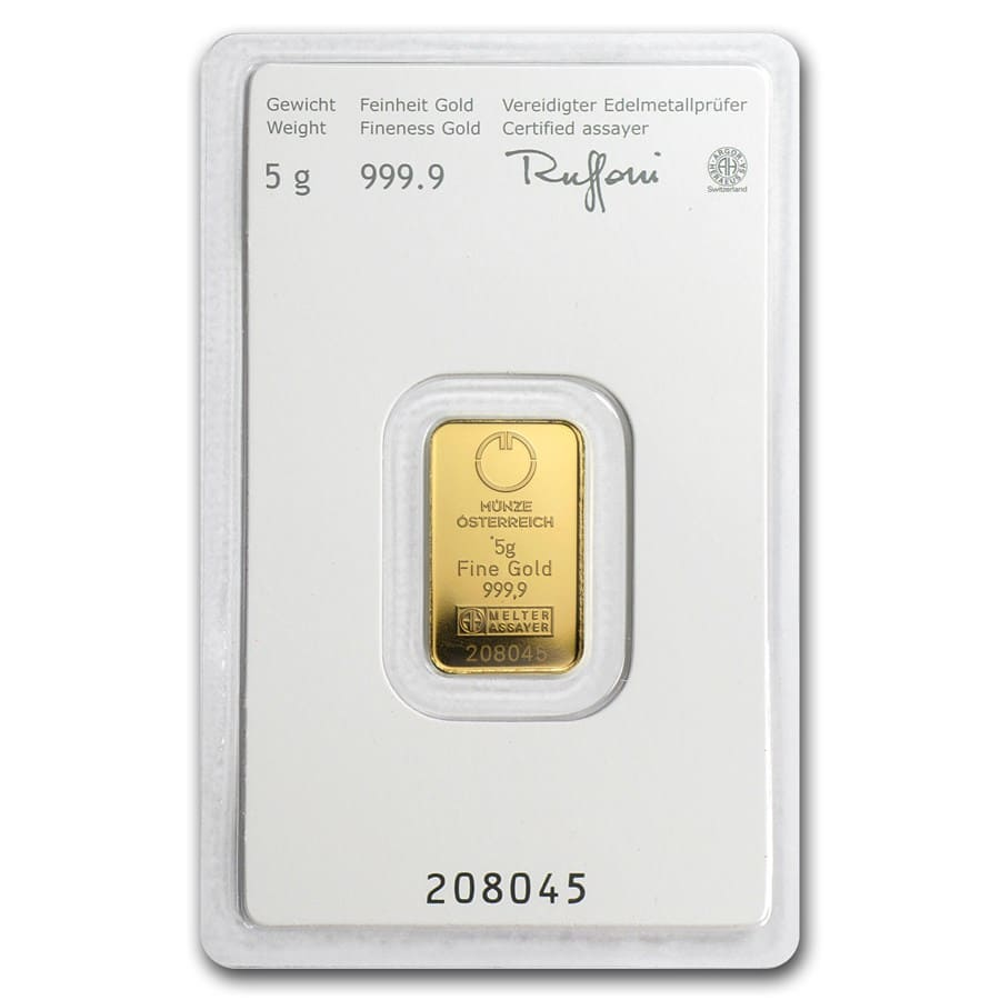 5 gram Gold Bar - Austrian Mint (KineBar Design) (In Assay)