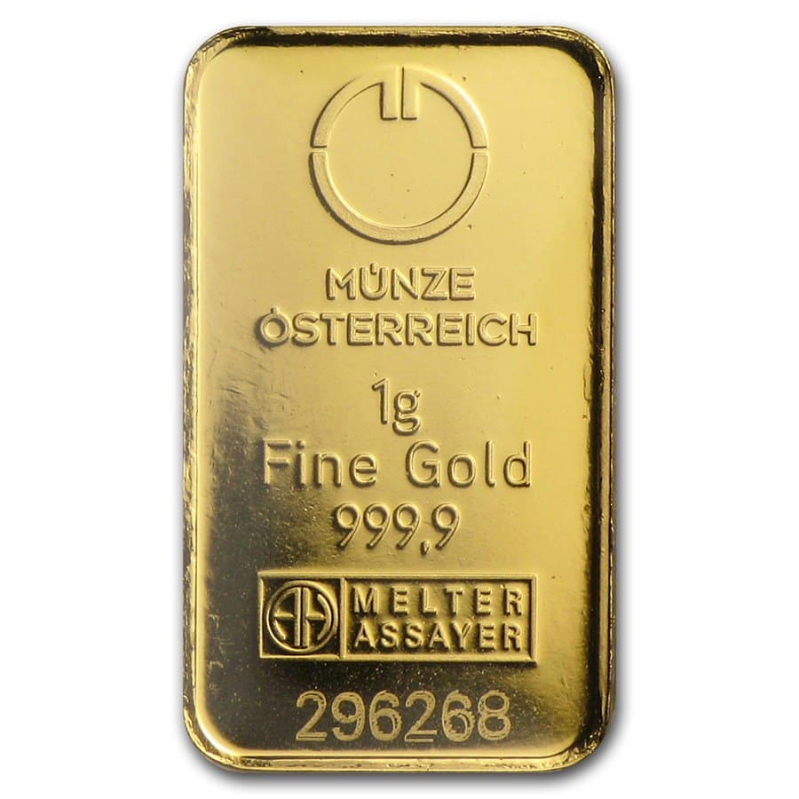 1 gram Gold Bar - Austrian Mint Kinebar Design (In Assay)