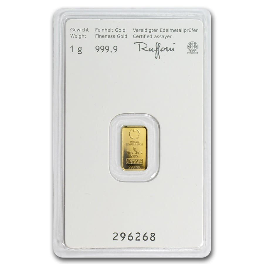 1 gram Gold Bars - Austrian Mint (KineBar Design) (In Assay)
