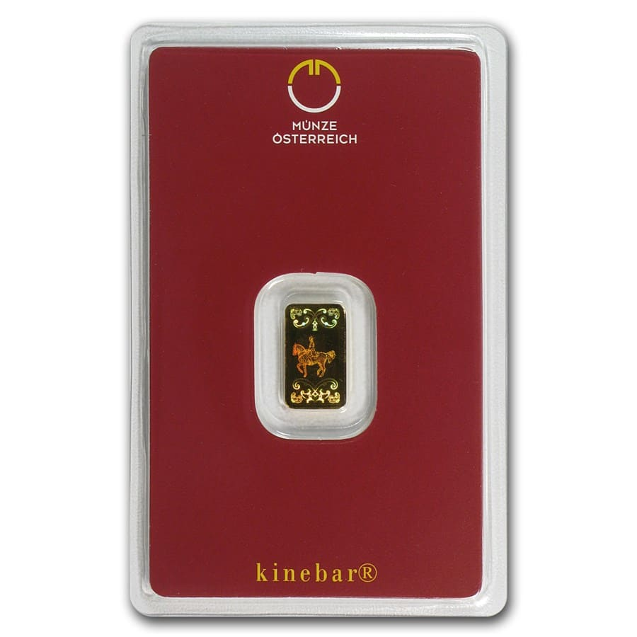 1 gram Gold Bar - Austrian Mint (KineBar Design, In Assay)