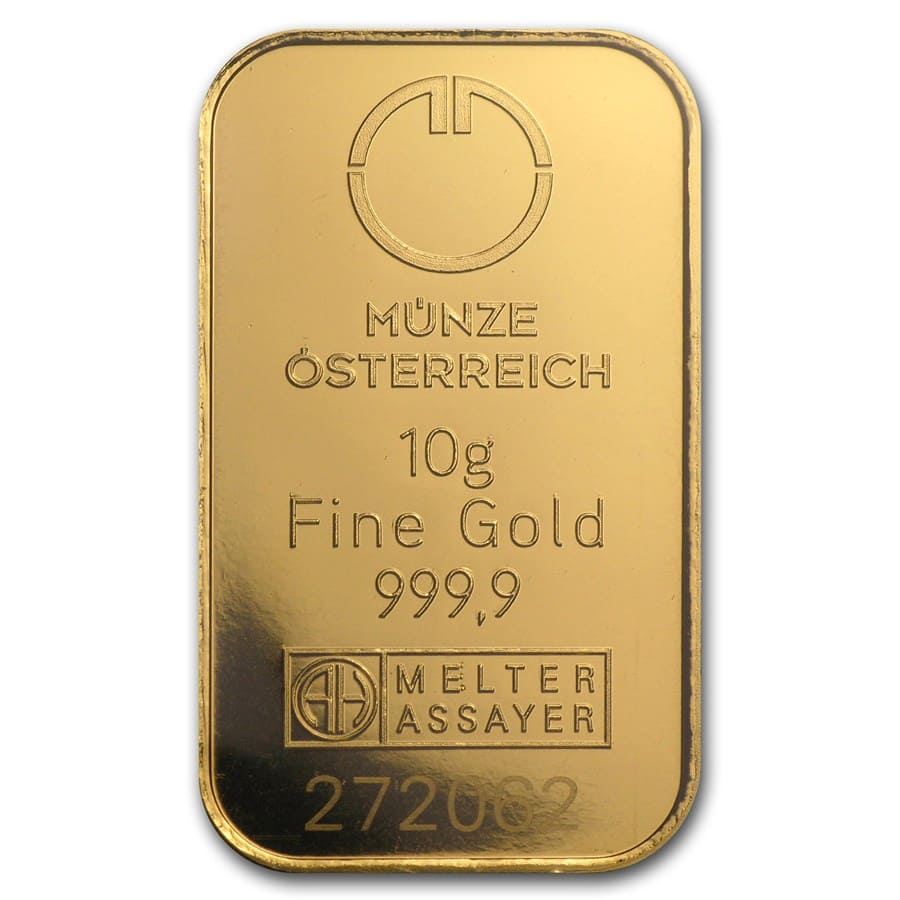 10 gram Gold Bar - Austrian Mint KineBar Design (In Assay)