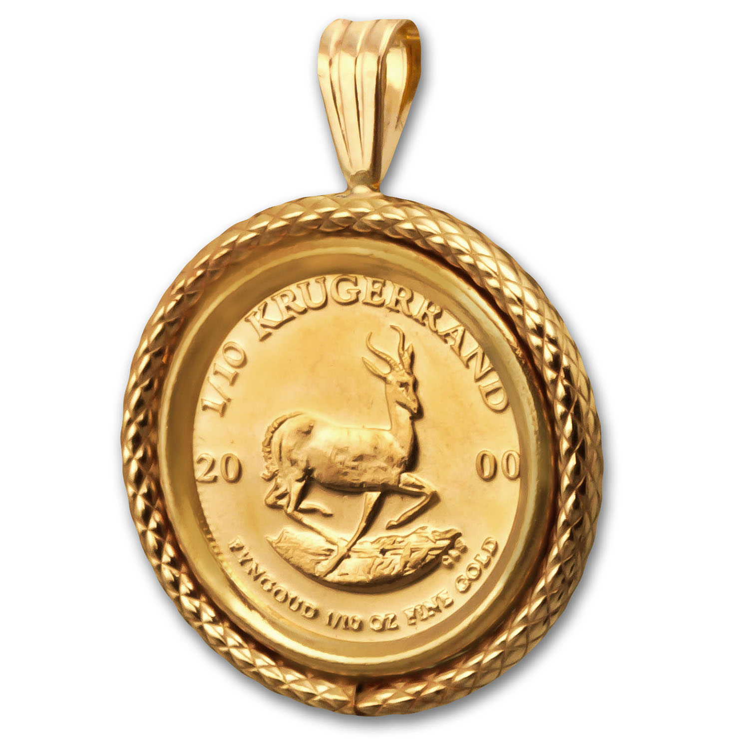 2000 1/10 oz Gold Krugerrand Pendant (Polished Cable-Prong Bezel)