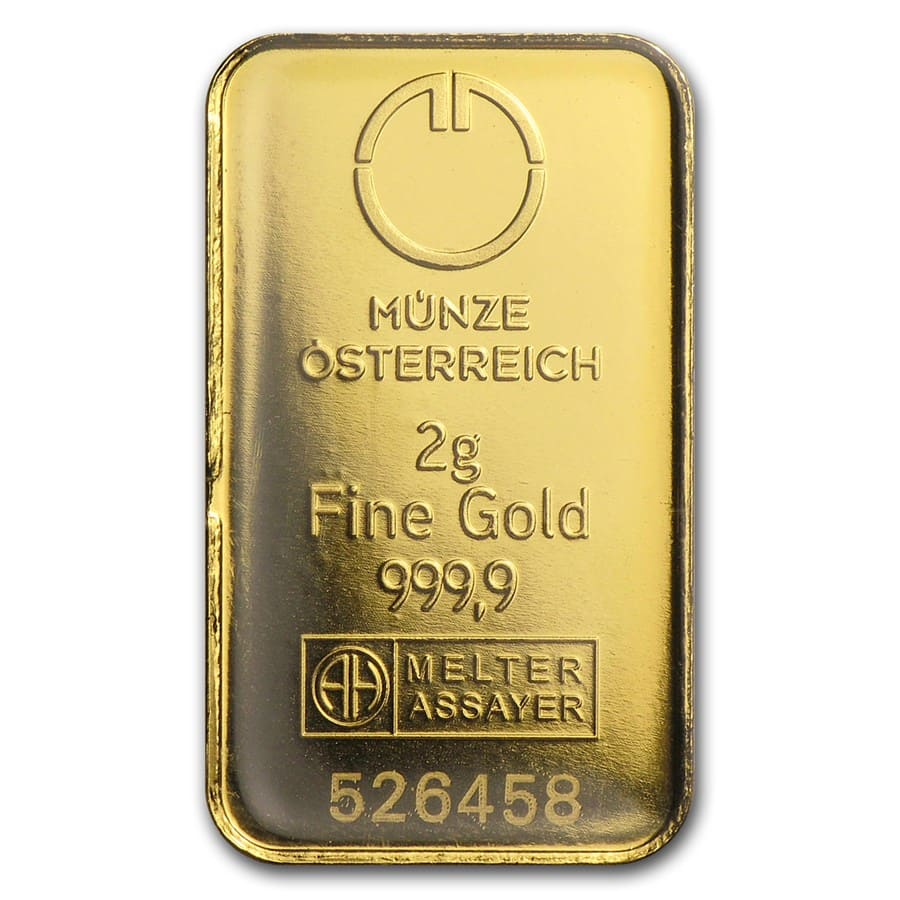 2 gram Gold Bars - Austrian Mint (In Assay)