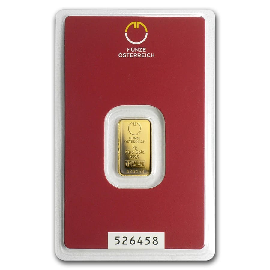 2 gram Gold Bar - Austrian Mint (In Assay)