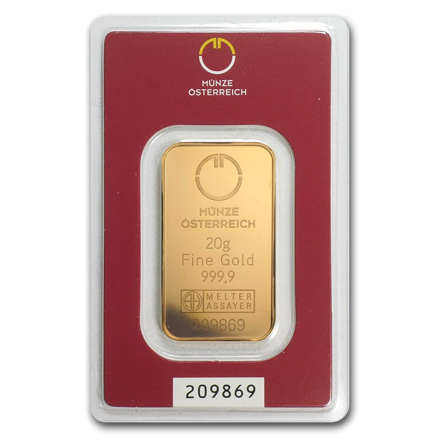 20 gram Gold Bar - Austrian Mint (In Assay)