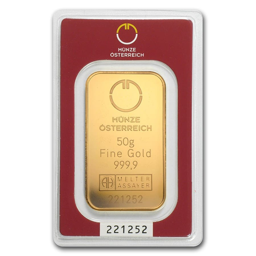 50 gram Gold Bar - Austrian Mint (In Assay)