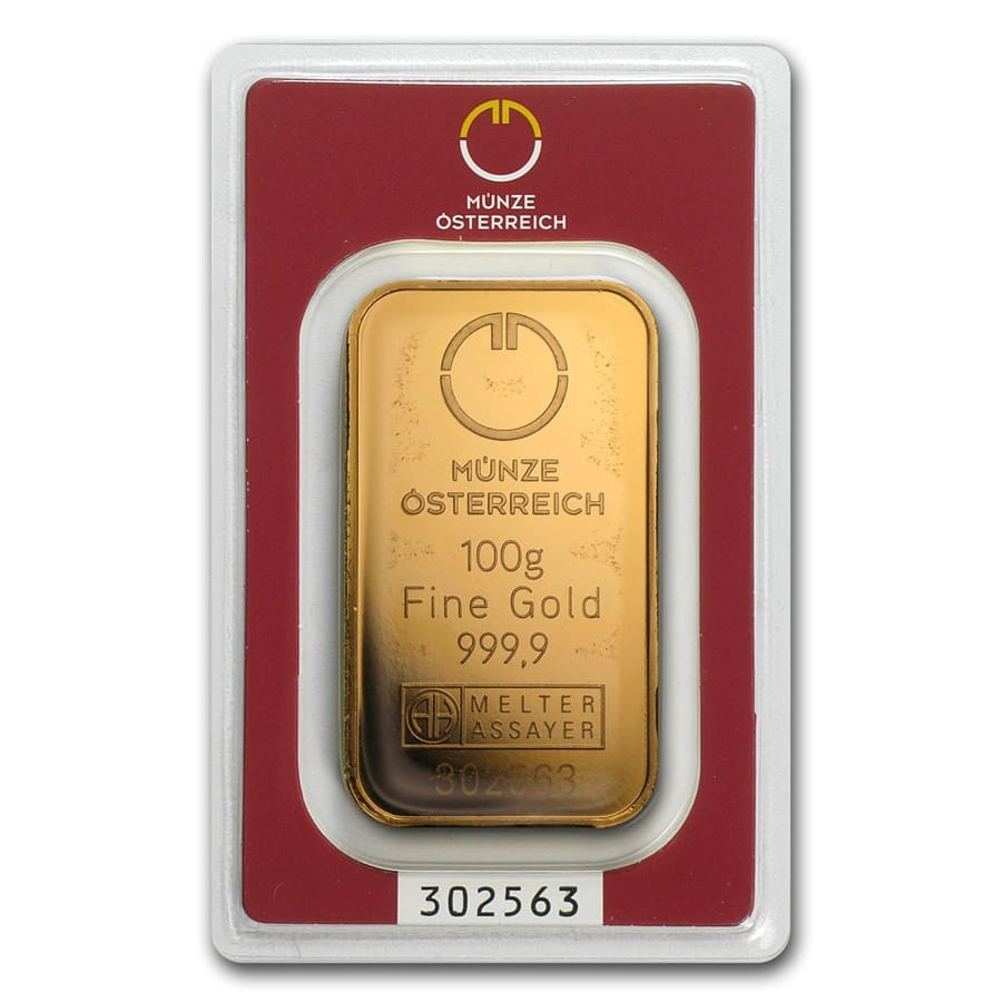 100 gram Gold Bars - Austrian Mint (In Assay)
