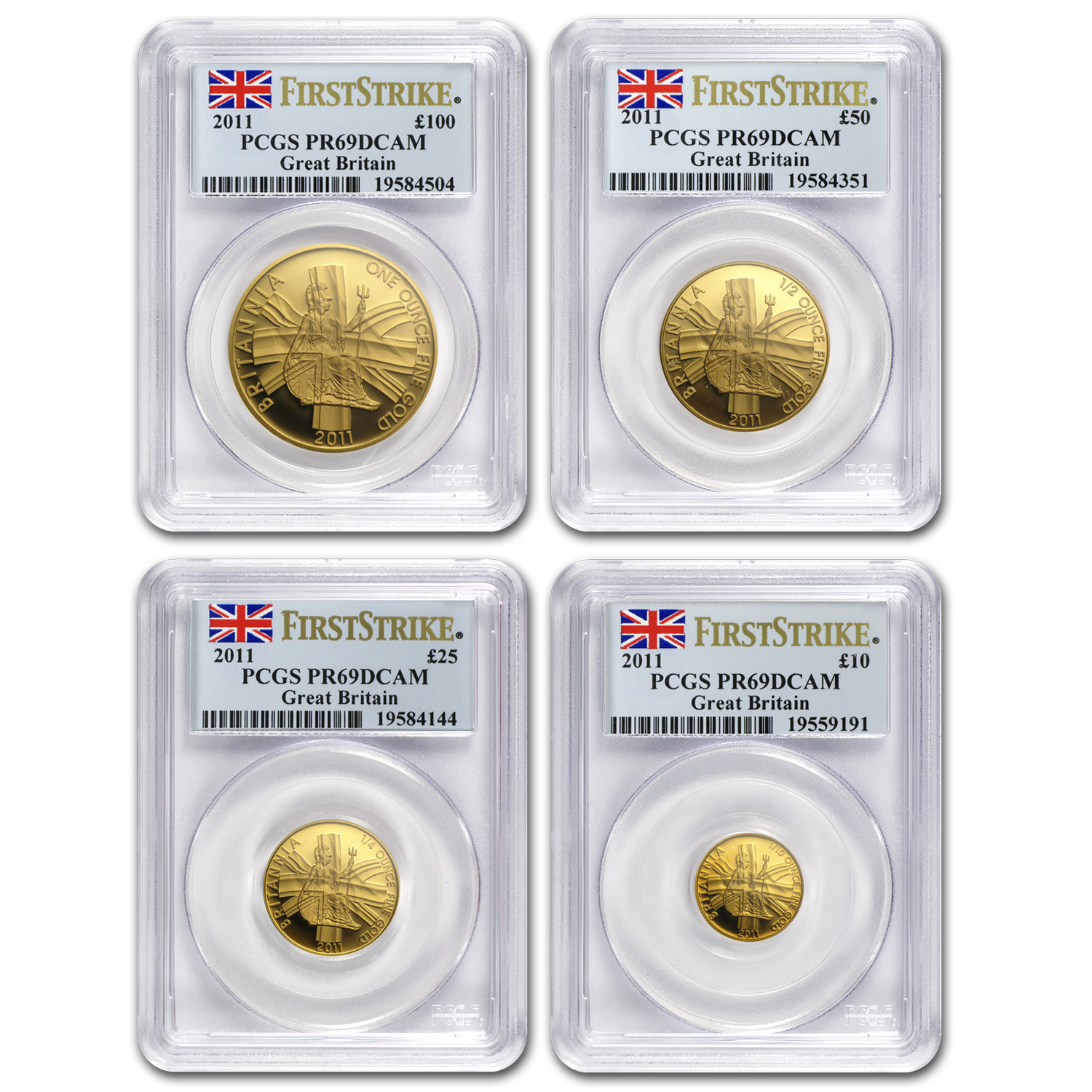 2011 4-Coin Gold Britannia Proof Set PR-69 PCGS (First Strike)
