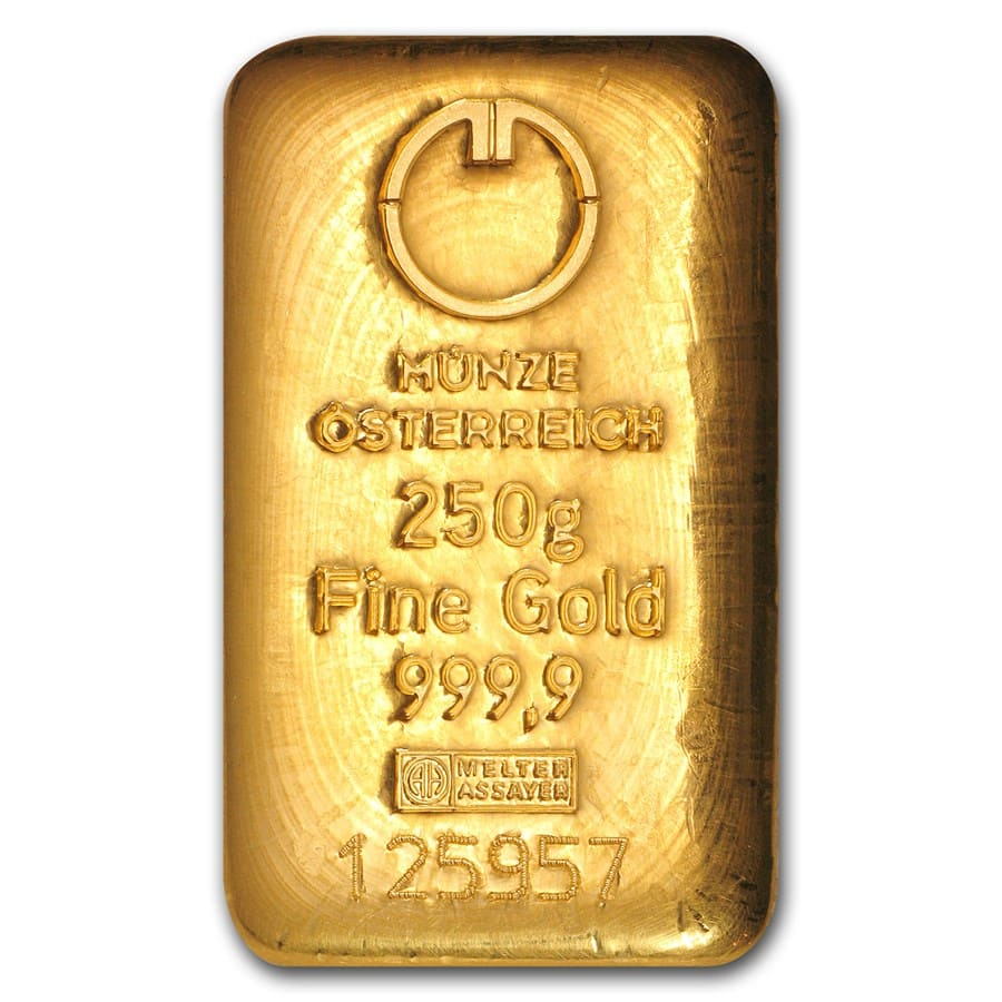 250 gram Gold Bars - Austrian Mint (Cast)