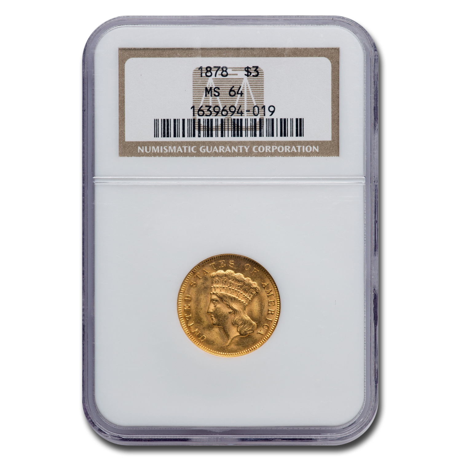 1878 $3 Gold Princess MS-64+ NGC