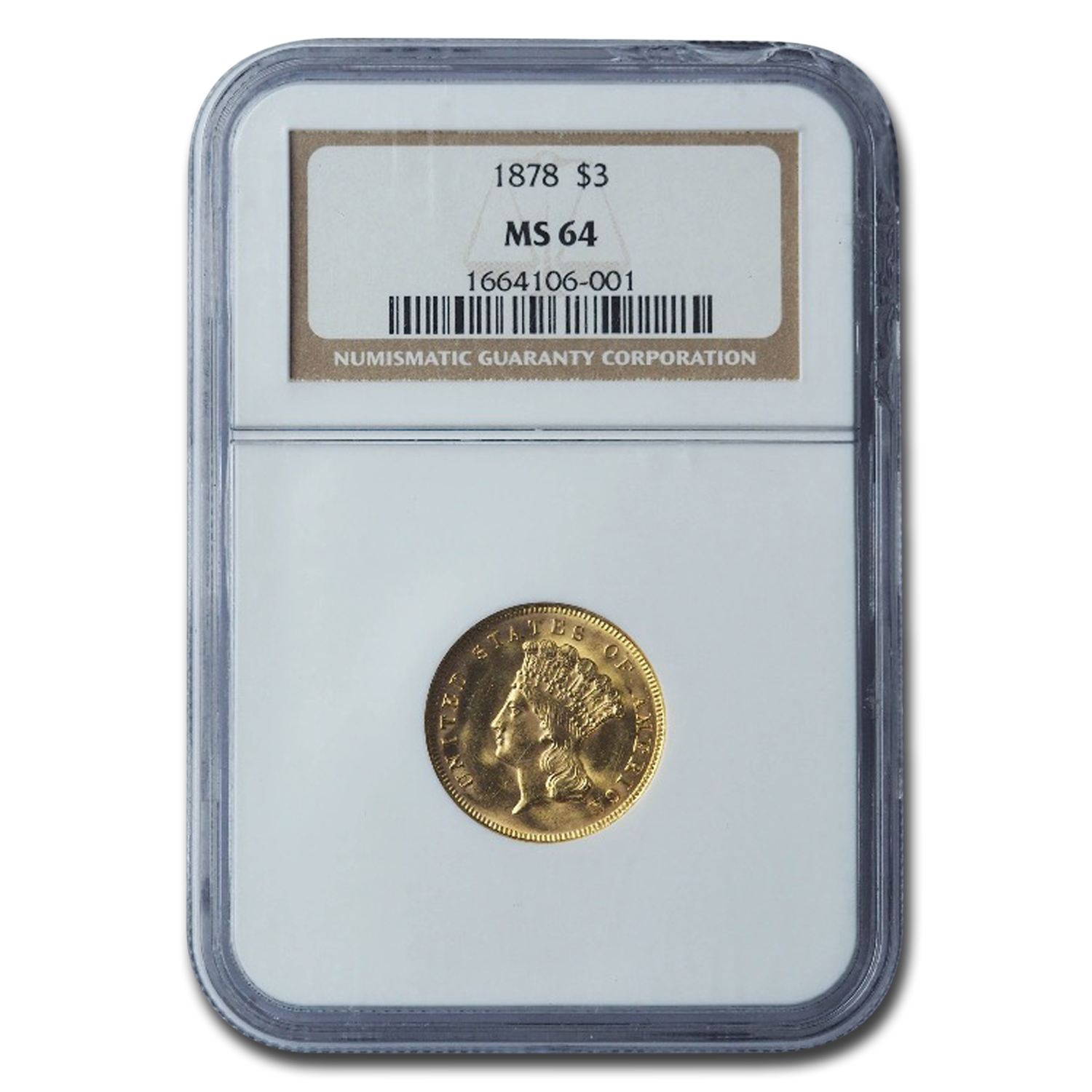 1878 $3 Gold Princess MS-64 NGC