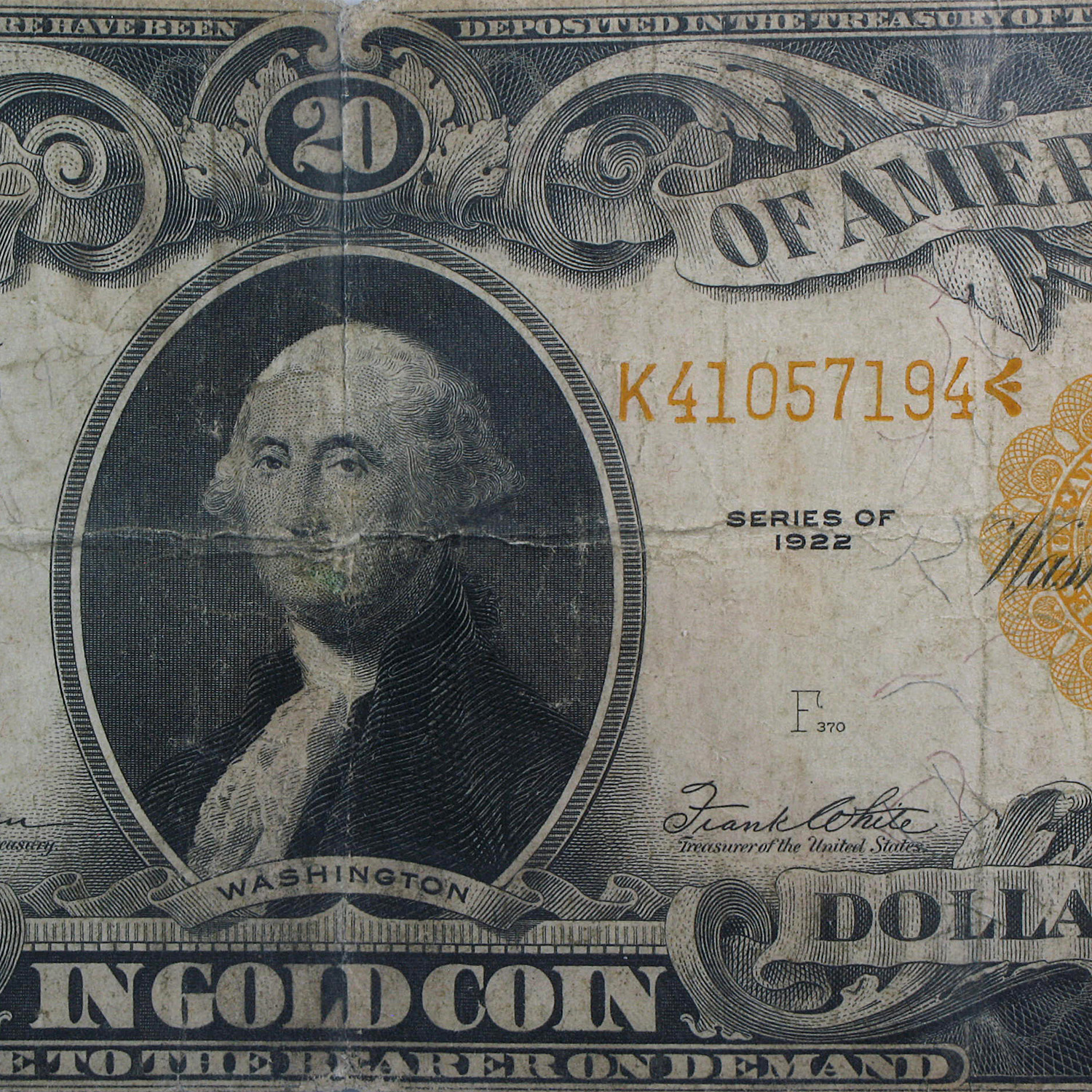1922 $20  Gold Certificate - Washington - (PMG Fine 12)