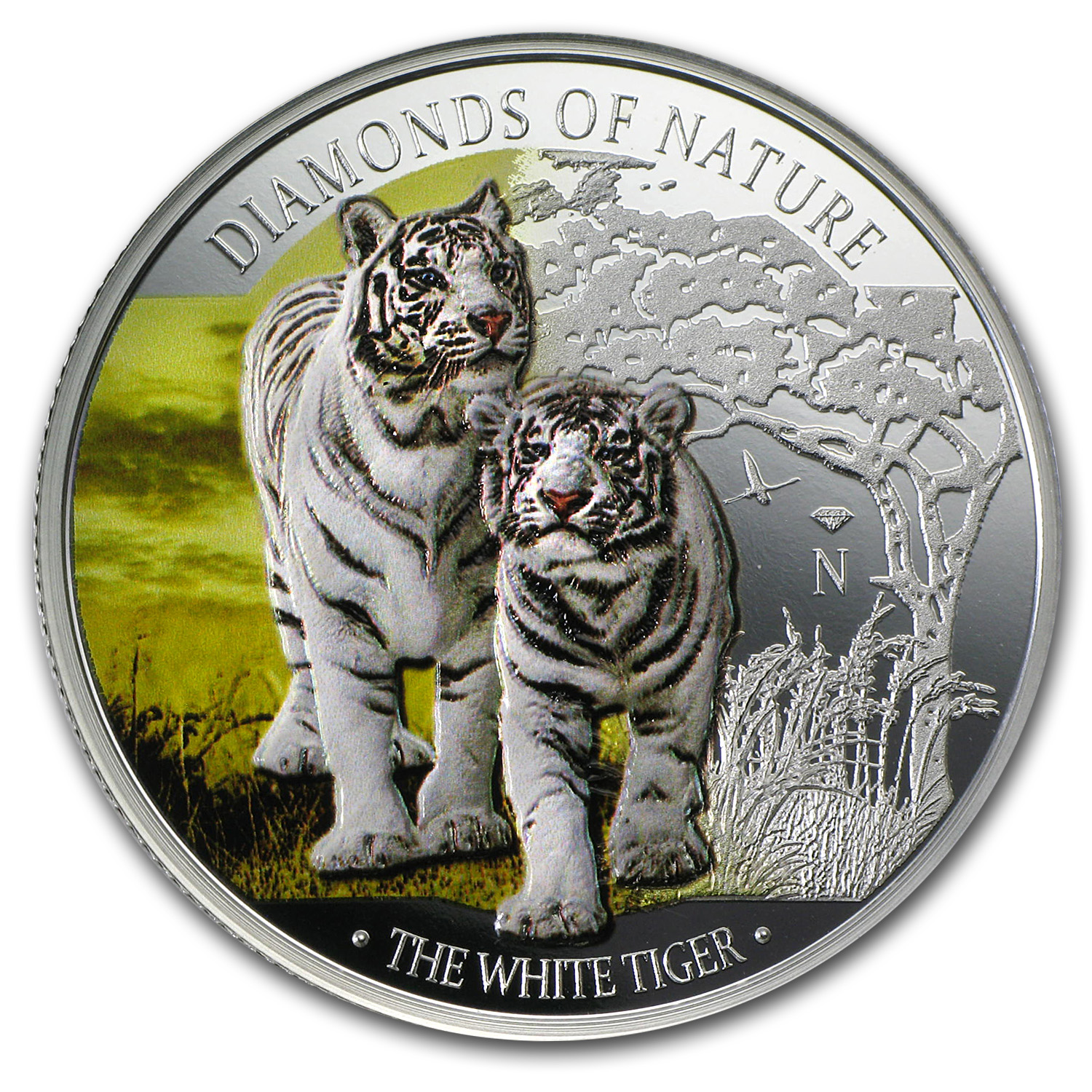 2012 Fiji Silver $10 Diamonds of Nature White Tiger