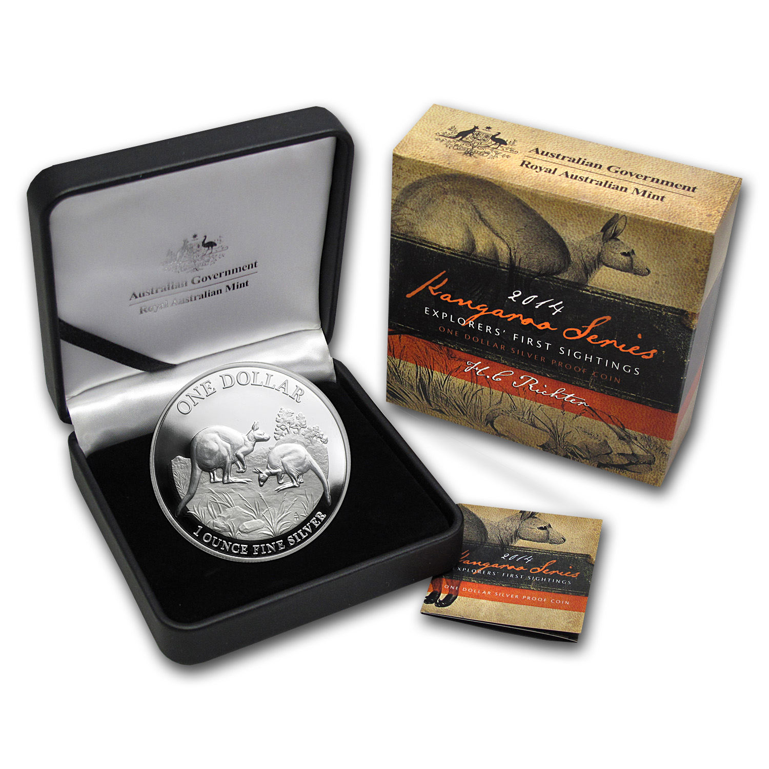 2014 Australia 1 oz Proof Silver Kangaroo (Box and COA)