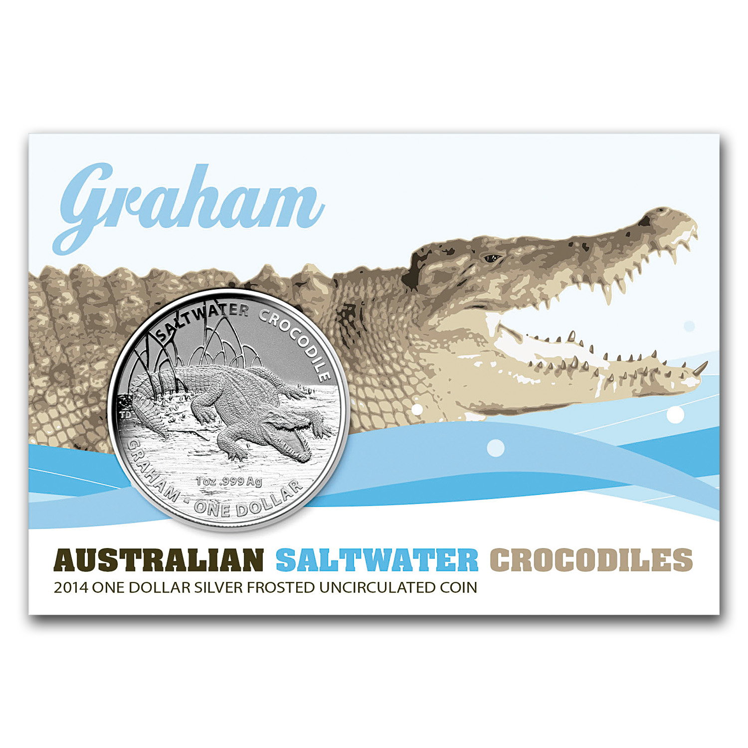 2014 1 oz Silver Saltwater Crocodile (Graham)