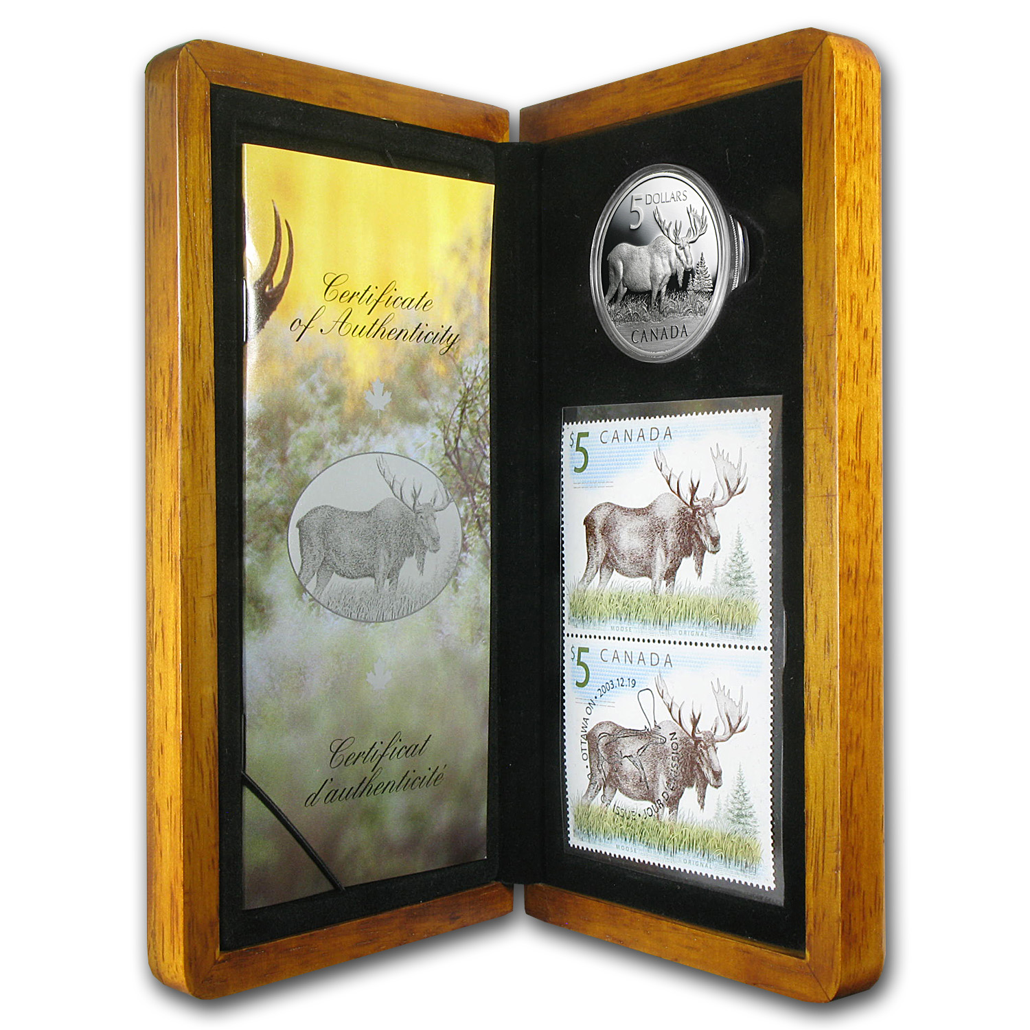 2004 Canada 1 oz Silver Moose Coin and Stamp Set (w/Box & COA)