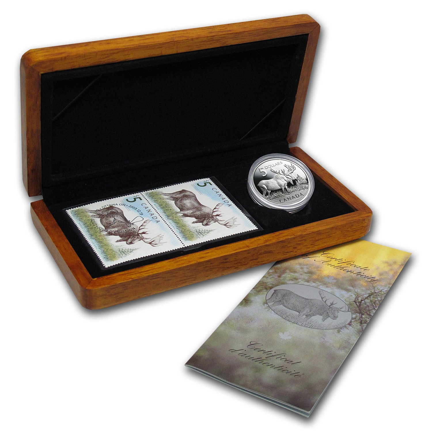 2004 1 oz Silver Canadian Moose Coin and Stamp Set (W/Box & COA)