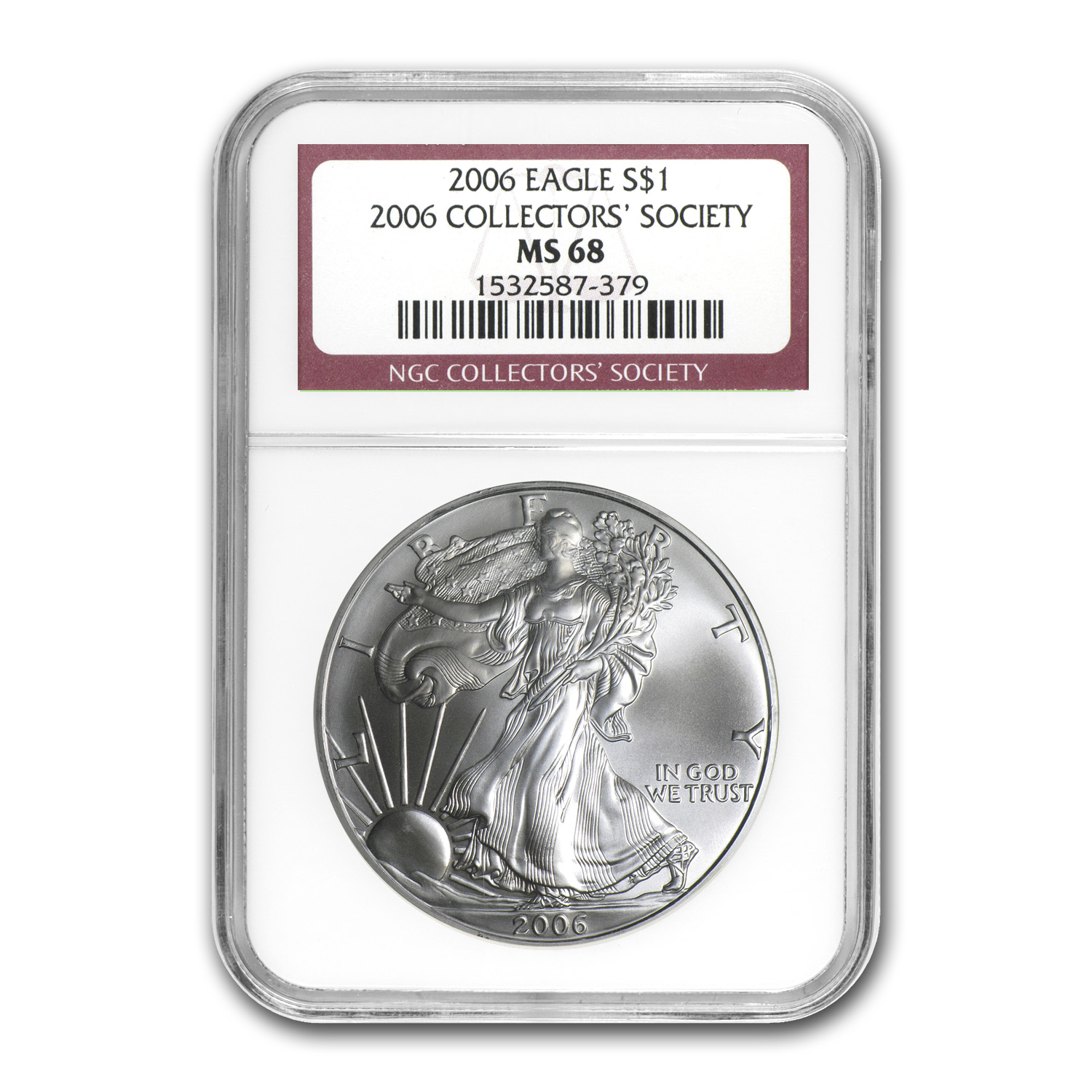 2006 Silver Eagle - MS-68 NGC - Collectors' Society Label