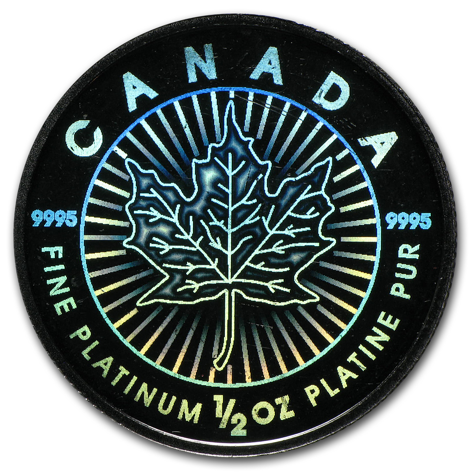 2002 1/2 oz Hologram Platinum Maple Leaf