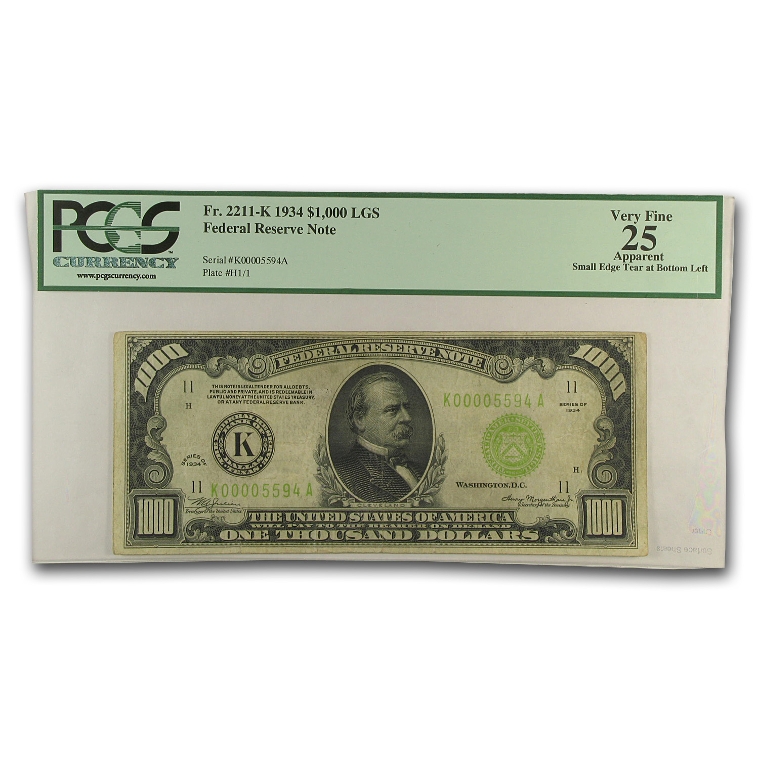 1934 (K-Dallas) $1,000 FRN PMGS (Very Fine)-25 App) LGS