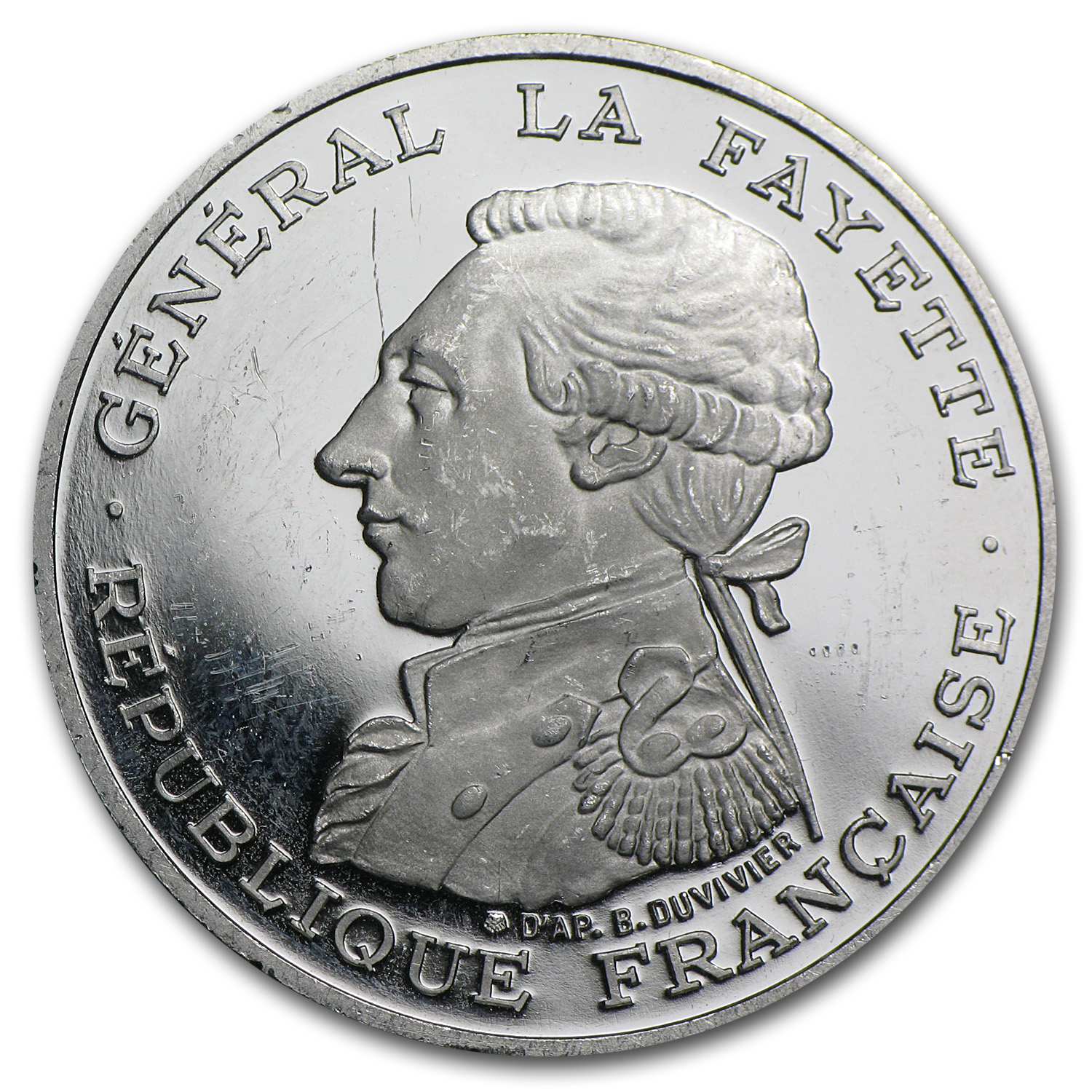 1987 France Platinum 100 Francs General LaFayette (APW .6423 oz)