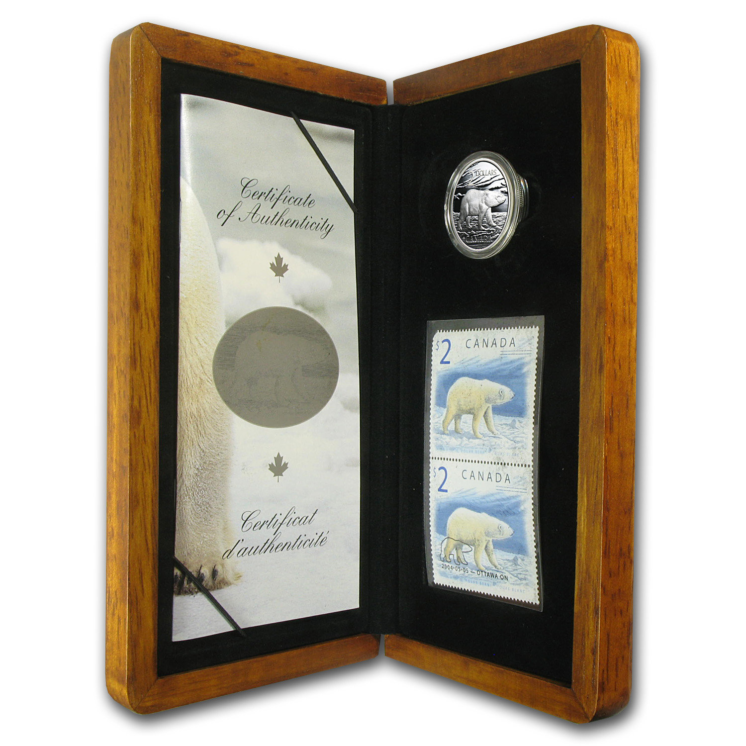 2004 1/4 oz Silver Canadian Polar Bear Coin and Stamp Set