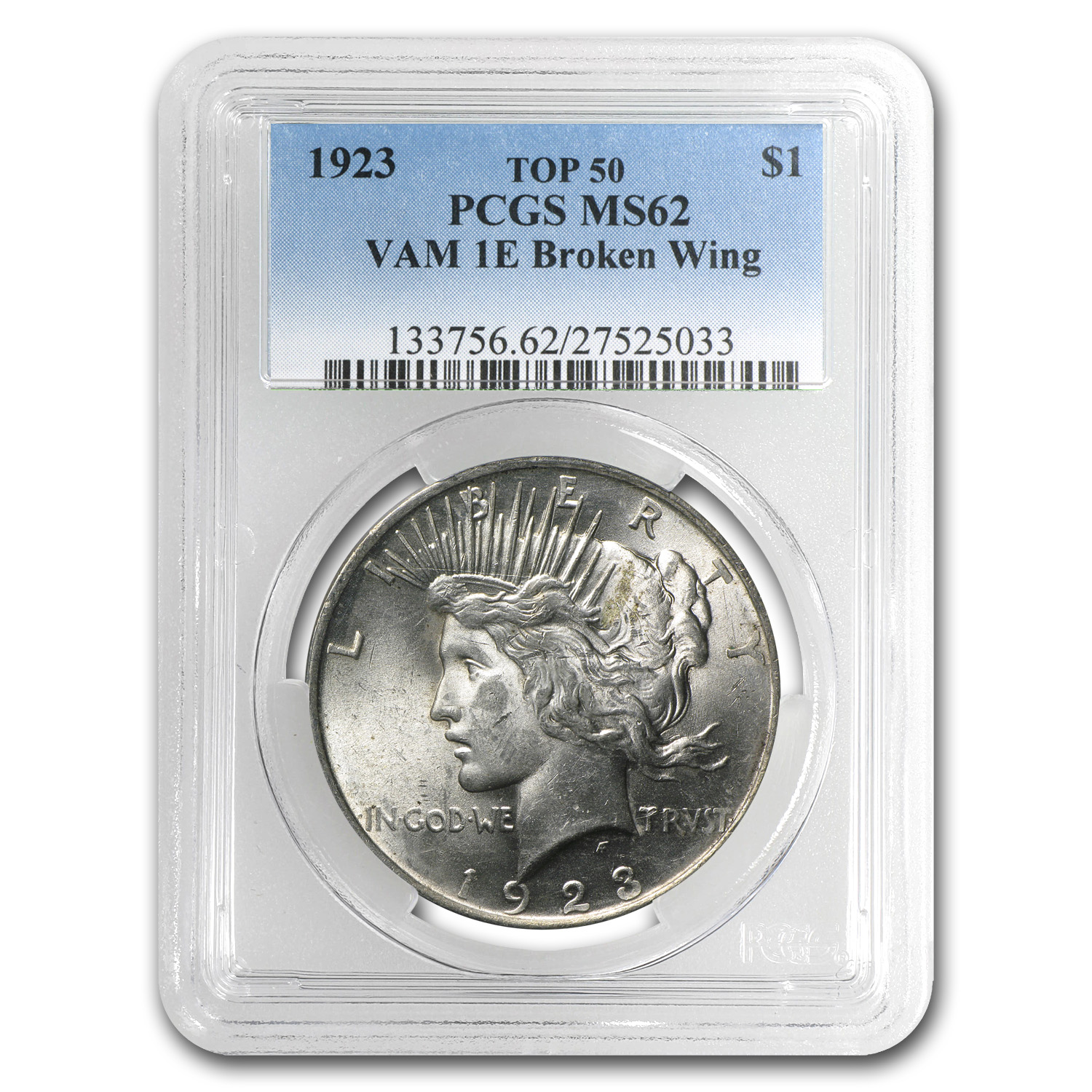 1923 Peace Dollar MS-62 PCGS (VAM-1E, Broken Wing, Top-50)