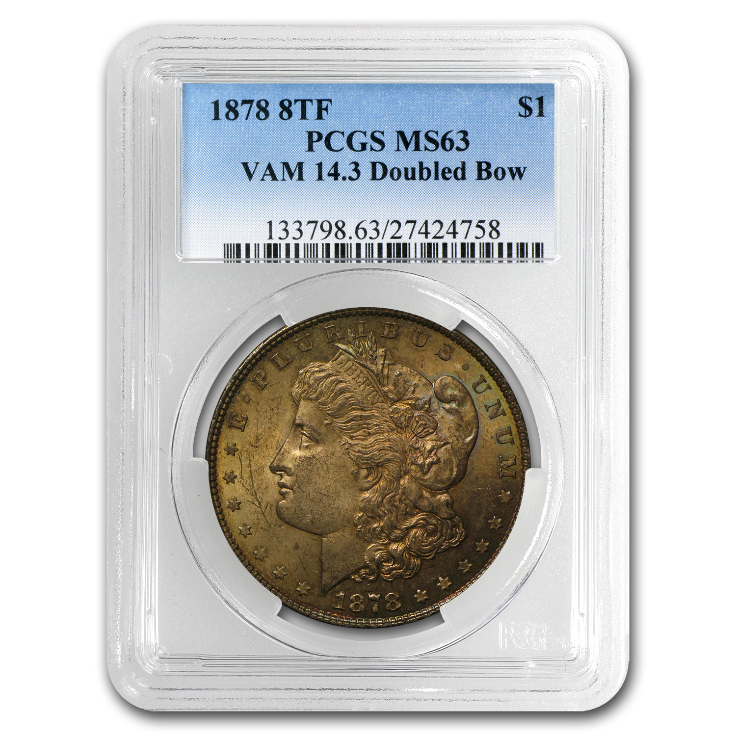 1878 Morgan Dollar - 8 Tailfeathers MS-63 PCGS - VAM-14.3