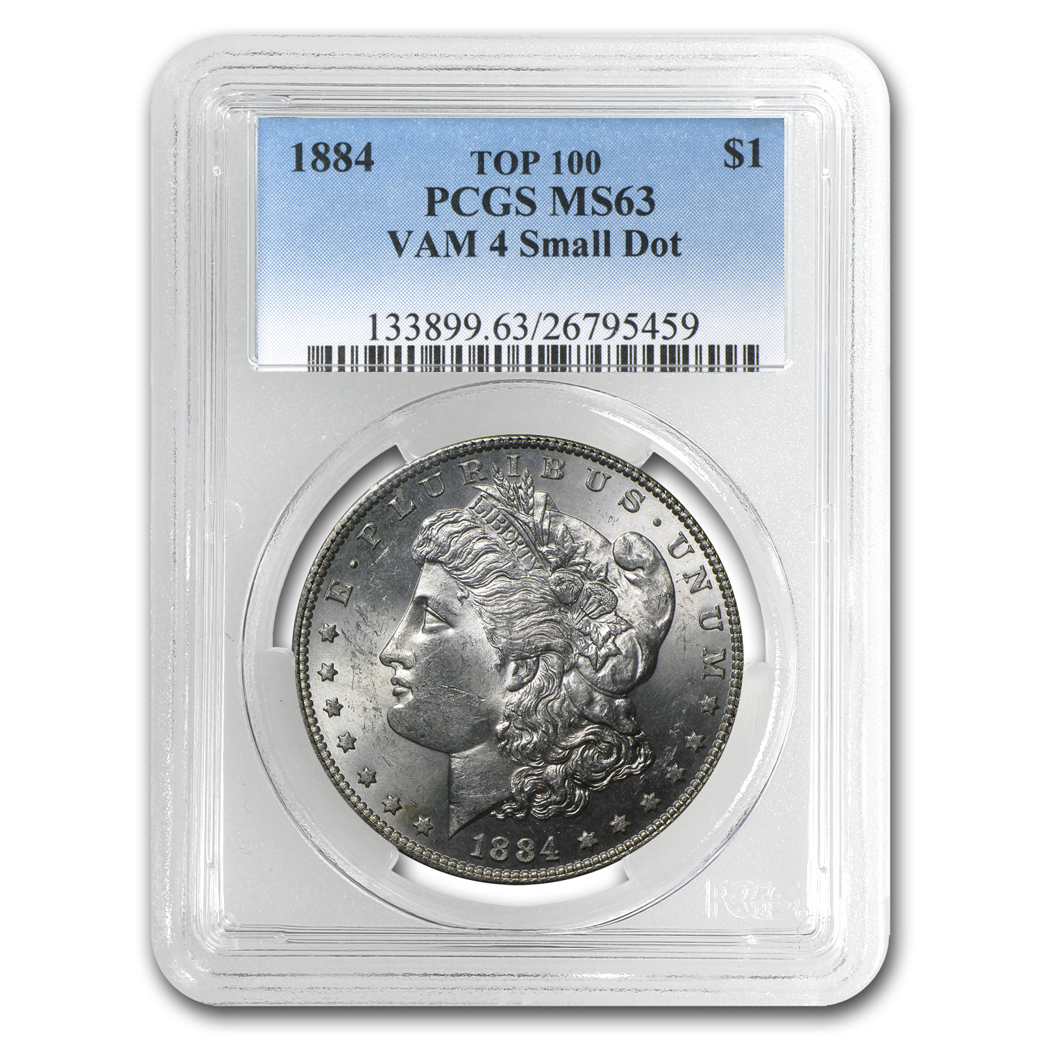 1884 Morgan Dollar MS-63 PCGS (VAM-4, Small Dot, Top-100)