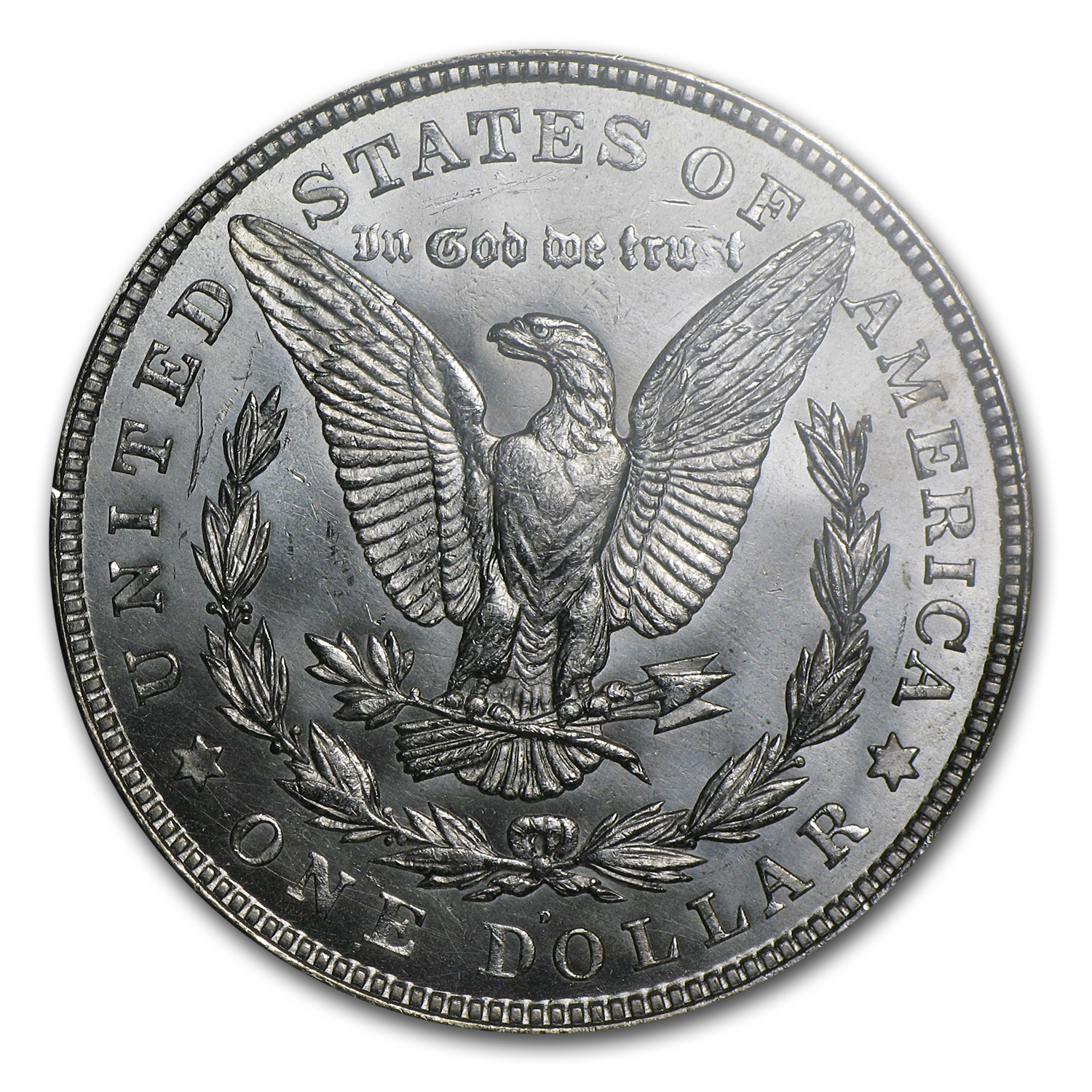 1921-D Morgan Dollar MS-62 PCGS (VAM-1A, In God We Tru-t)