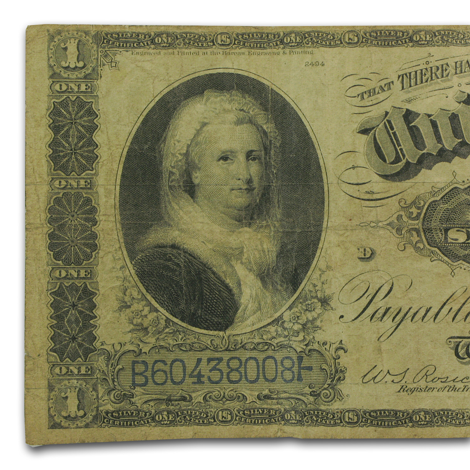 1886 $1.00 Silver Certificate Martha Washington Fine