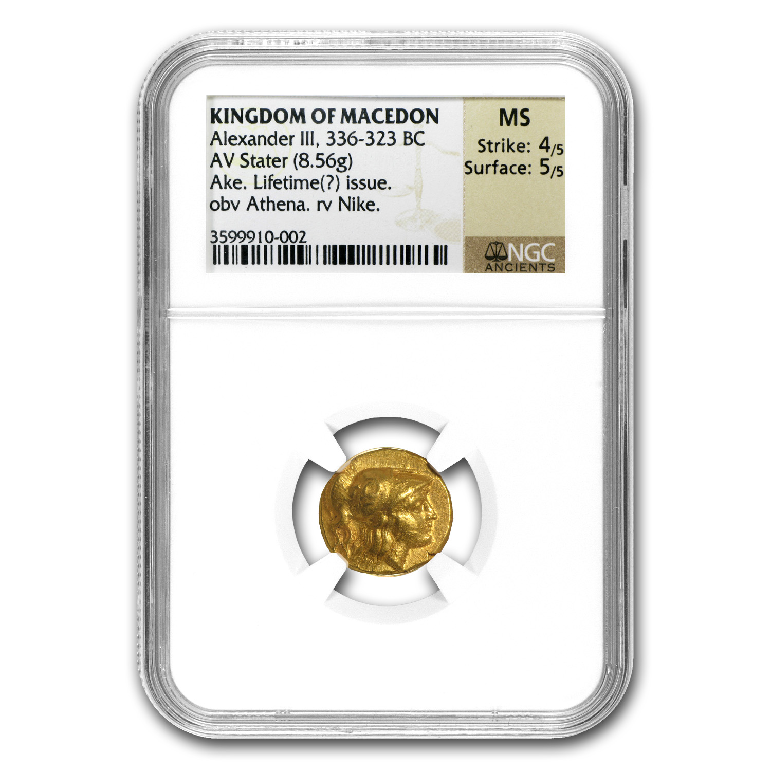 Macedonia Gold Stater of Alexander III MS NGC (336-323 BC)